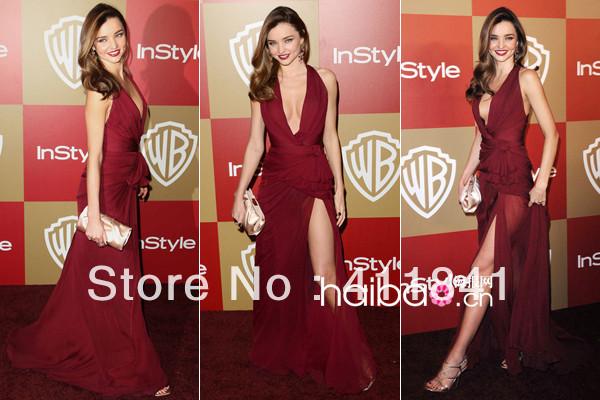 Frete grátis 2015 nova chegada Miranda Kerr vinho profundo decote em v side slit sexy vestido celebridade vestido