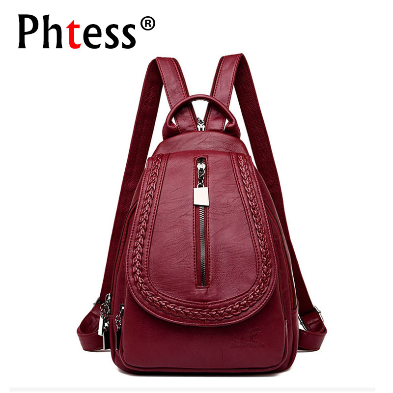 2019 Women Leather Backpacks High Quality Female Backpack Casual Daily Bag Sac A Dos Ladies Bagpack Travel School Back Pack New