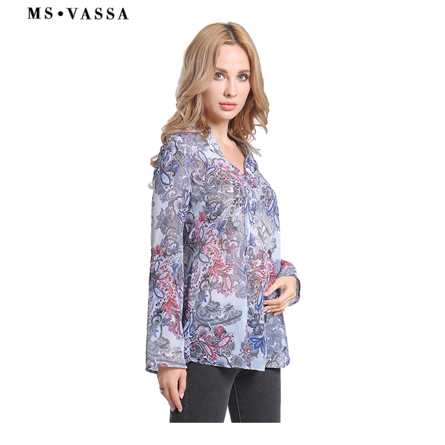 Casual shirts print long sleeve V-neck ladies loose Blouses  2