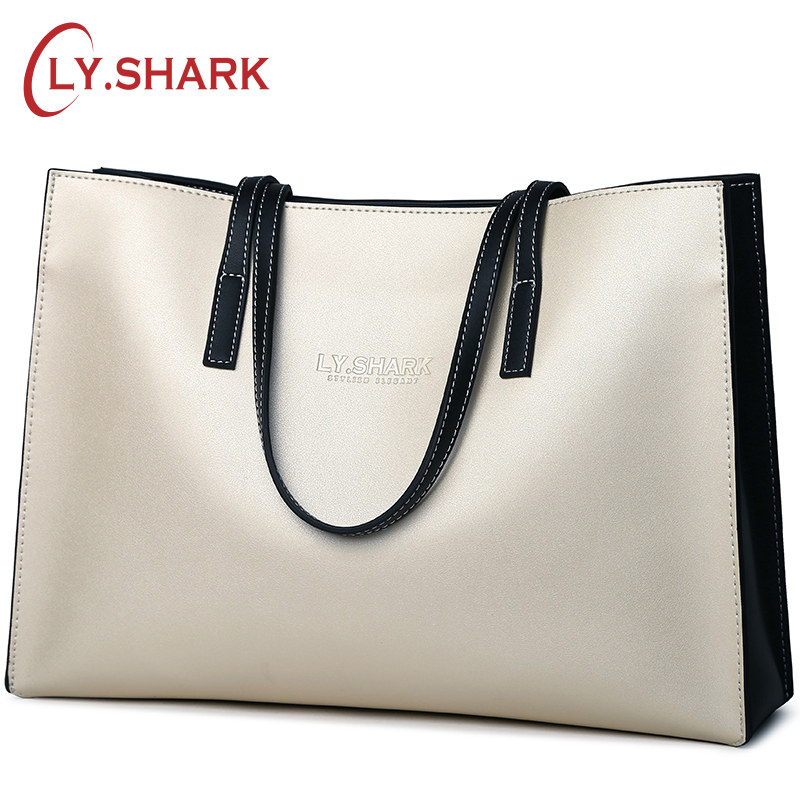 LY.SHARK Brand Genuine Leather Ladies Handbags Shoulder Bag Luxury Handbags Women Bags Designer Bolsa Feminina Big Size Tote Bag ladies genuine leather handbag 2018 luxury handbags women bags designer new leather handbags smile bag shoulder bag