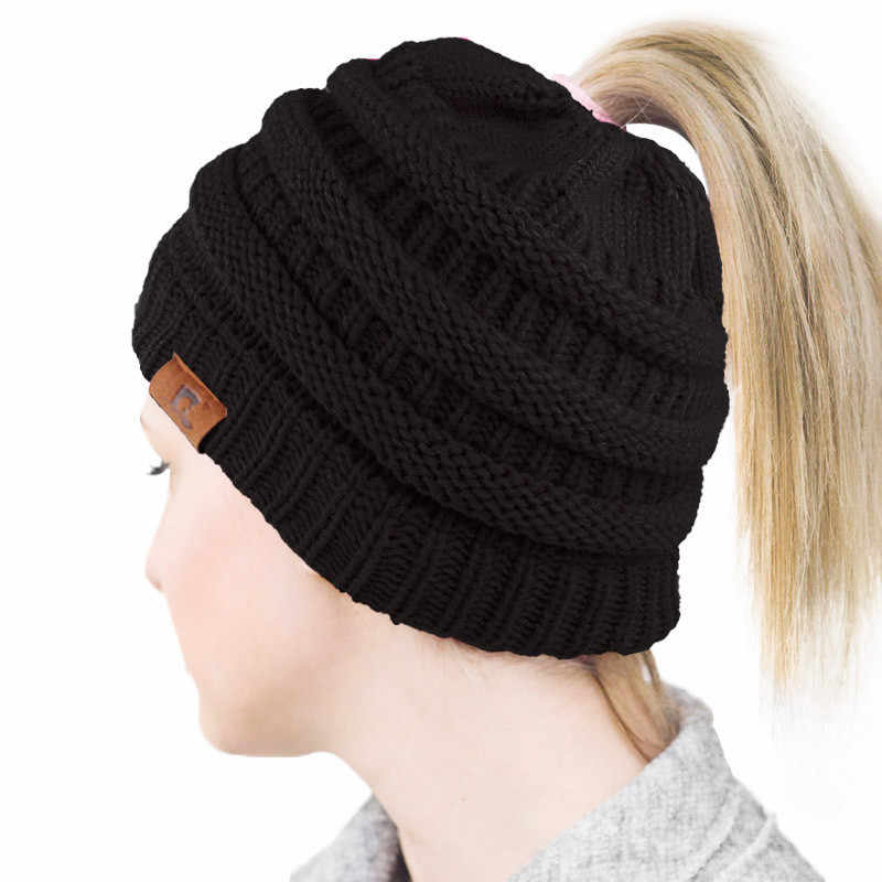 81ebcd0366227 ... 2019 Ponytail Beanie Winter Hats for Women Crochet Knit Cap Skullies  Beanies Warm Caps Female Knitted ...
