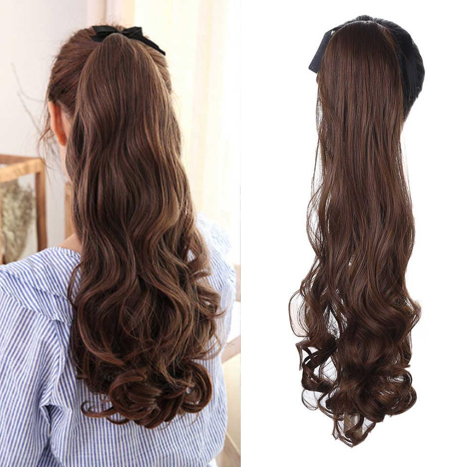 AOSI largo rizado sintético negro marrón cordón Cola de Caballo resistente al calor postizo de cola de Pony Clip en la extensión del pelo de las mujeres