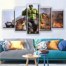 Modular Film Avengers Picture 5 Panel Comic Hulk Canvas Art Wall Framework Decoration Home Decor Living Room or Painting