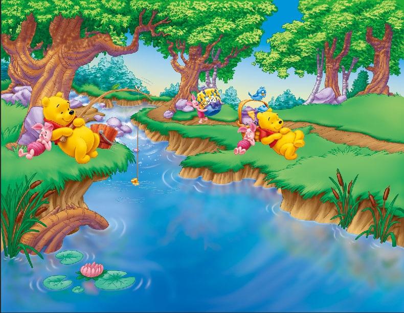 Winnie The Pooh Forest Background: 8x8FT Winnie Piglet Green Forest Blue River Boy Kids Child
