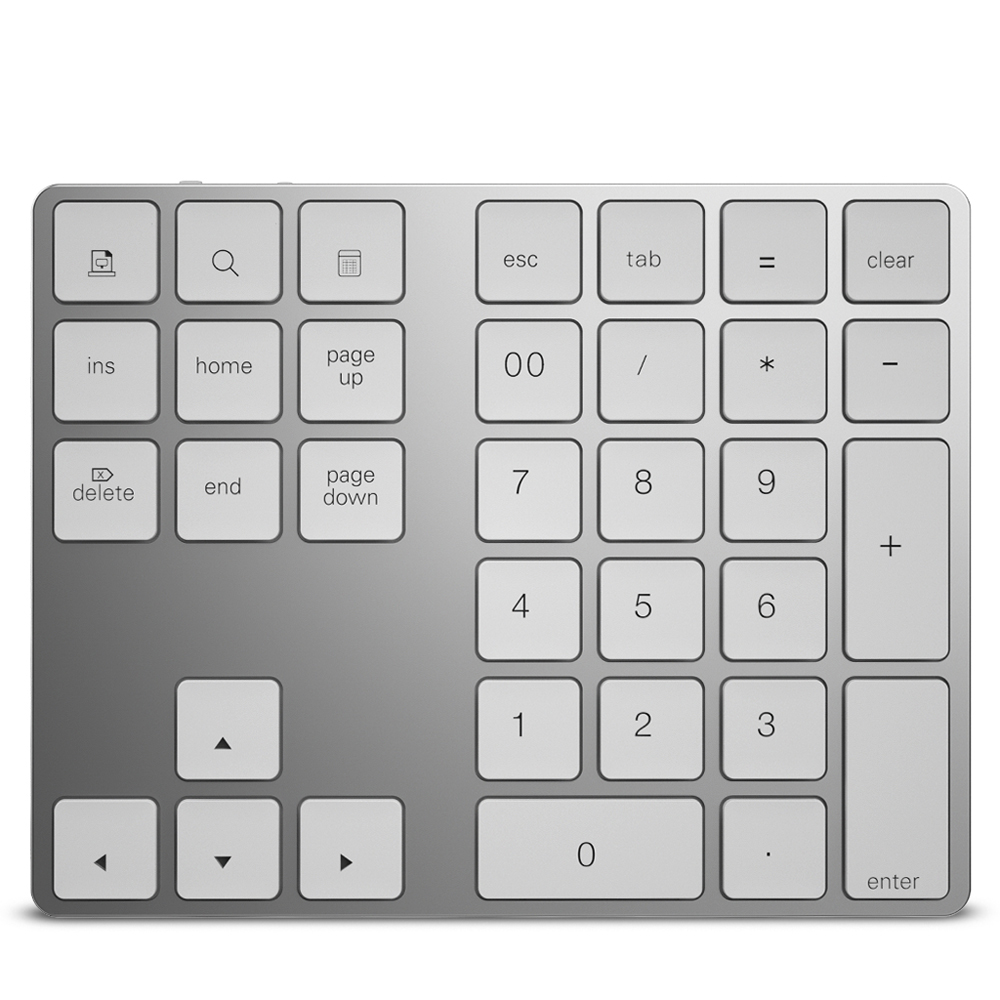 Aluminium Wireless Numeric Keyboard 34 Key BT Keyboard Built-in Rechargeable Battery Keypad For Windows/iOS/Android