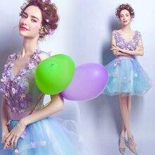 2016 Charming Süße Blau & Lavendel Kurze Brautkleider V-ausschnitt Appliques & Perlen Cocktail Party Kleid vestido de festa