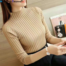 2019 Fall Winter Fashion Sweater High Elastic Solid Turtleneck Women Slim Sexy Hight Bottoming Knitted Pullovers Women Sweater