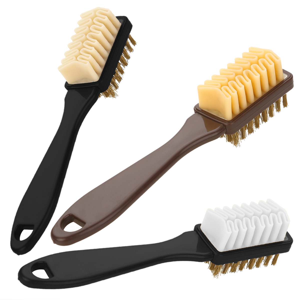 1pc 2-Sided Cleaning Brush With Rubber Eraser Suede Nubuck Shoes Boot Cleaner Set Practical Handbag Brushes