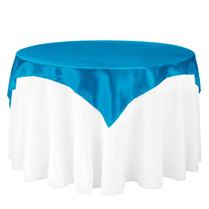 145x145cm Satīna auduma galdautu galda pārsegs Galda pārklājuma galda trauki Puse Restorāns Banketu viesnīca Kāzu rotājumi