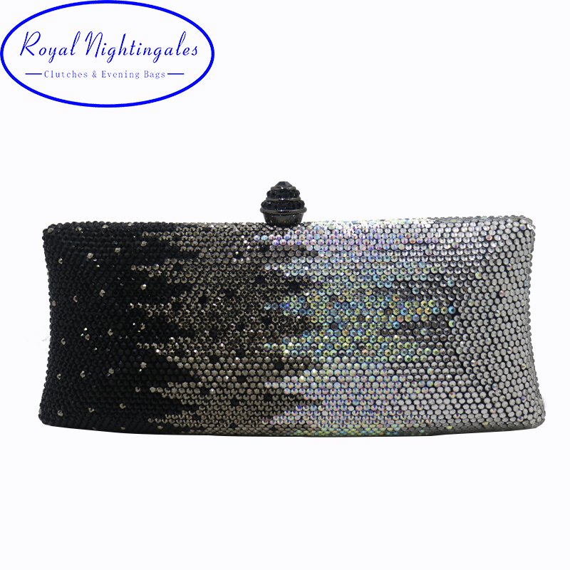 Wholesale Womens Black Crystal Box Hard Case Evening Bags and Clutches