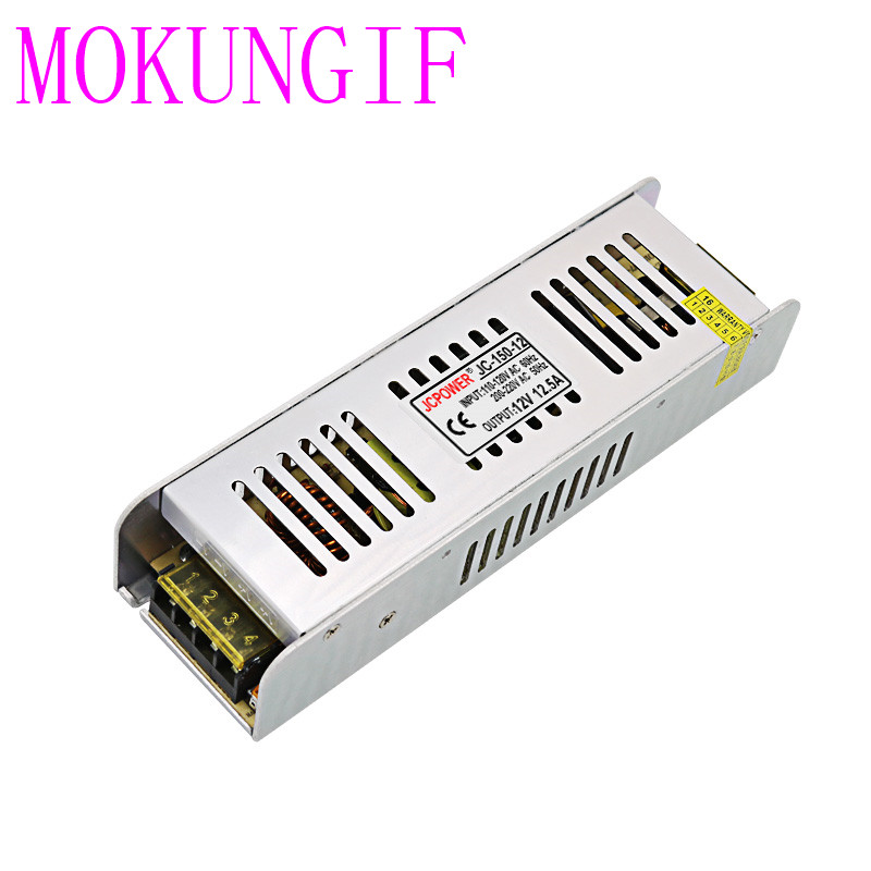 50pcs fast shipping AC100V-220V to DC12V 12.5A 150W thin long Transformer <font><b>LED</b></font> Power Supply For <font><b>3825</b></font> 5050 3014 <font><b>LED</b></font> Strip Light
