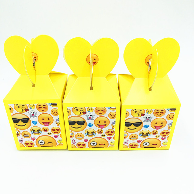 6pcs Emoji Candy Boxes Kids Birthday Wedding Party Supplies Theme Gift Happy Case