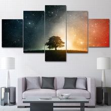 Living room home decoration wall art picture HD printing starry sky tree lawn stars modern painting canvas poster frame 5 spell