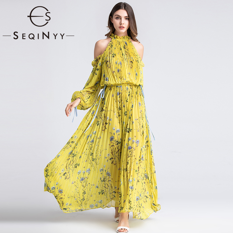 SEQINYY Long Dress Elegant Pleated 2019 Summer Spring Fashion Design Elastic Waist Long Sleeve Flowers Printed