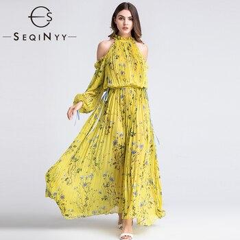 SEQINYY Long Dress Elegant Pleated 2019 Summer Spring Fashion Design Elastic Waist Long Sleeve Flowers Printed Beach Dress