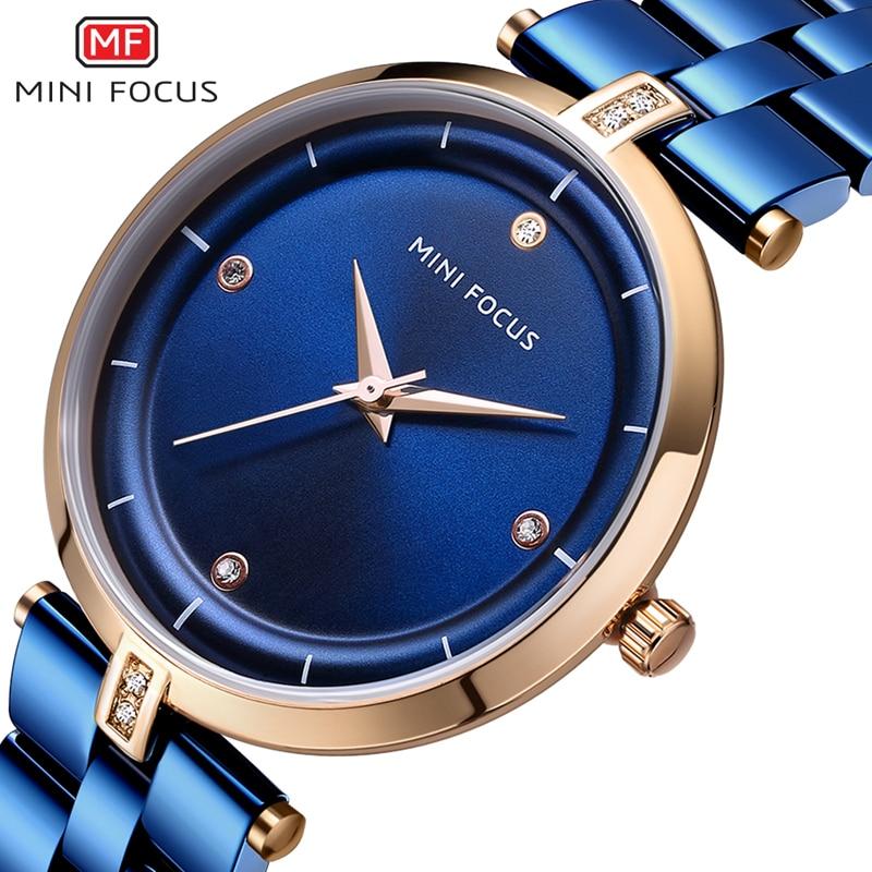 MINIFOCUS 2018 New Women Watches Luxury Brand Fashion Bracelet Clock Blue Gold Steel Quartz Wristwatch Ladies Valentine Gift