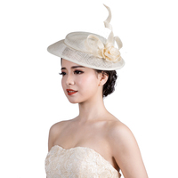 3Colors Lady headdress headband vintage sinamay fascinator hat flower feather fascinators hair accessories horse racing hairband