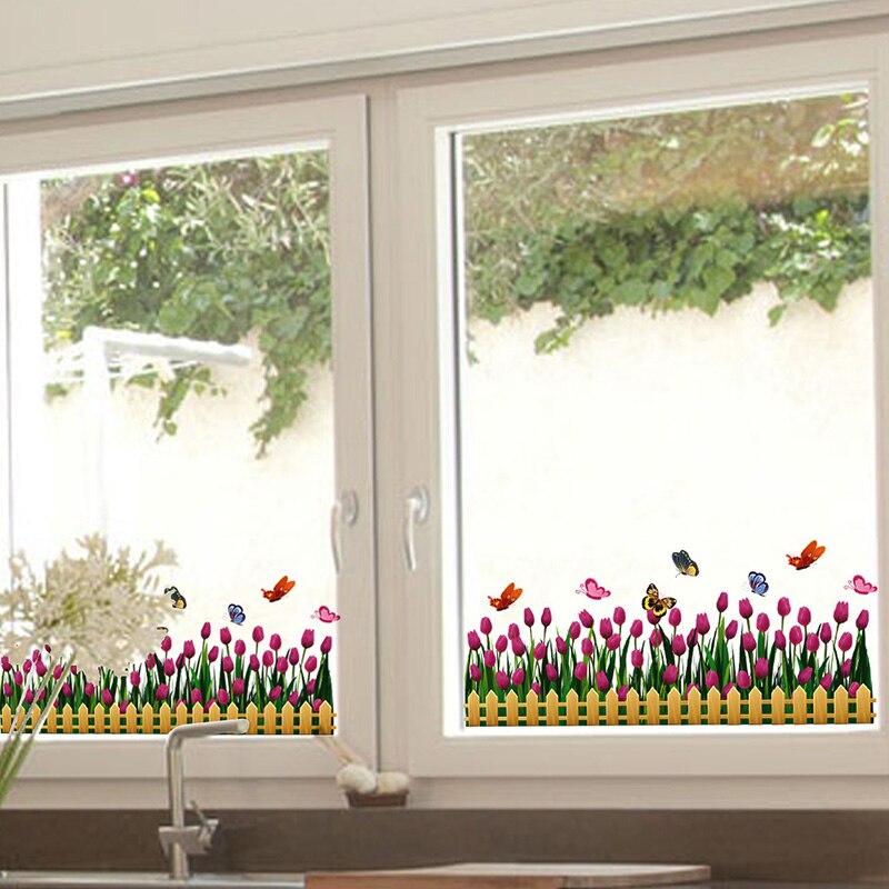 [SHIJUEHEZI] Tulipán ablak matrica Vinyl virág alaplap Szoknya Flores a nappali üvegablak dekoráció Adesivos