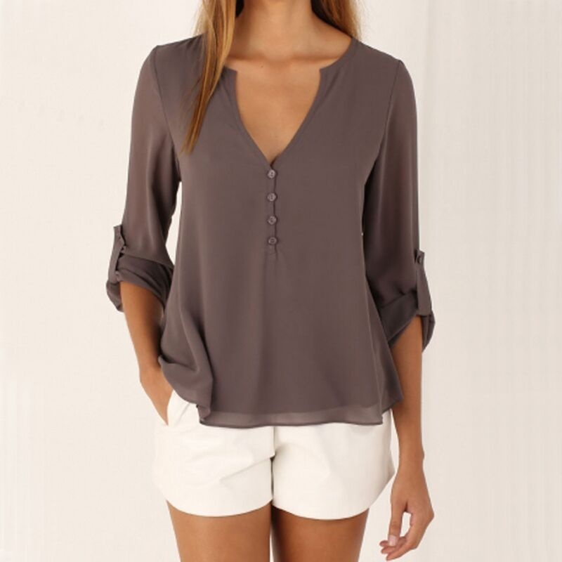 Grey Long Sleeve Chiffon Blouse Shirt Fall Deep V Neck Buttoned Back High Asymmetric Loose Casual 2020 Spring Autumn Women Top