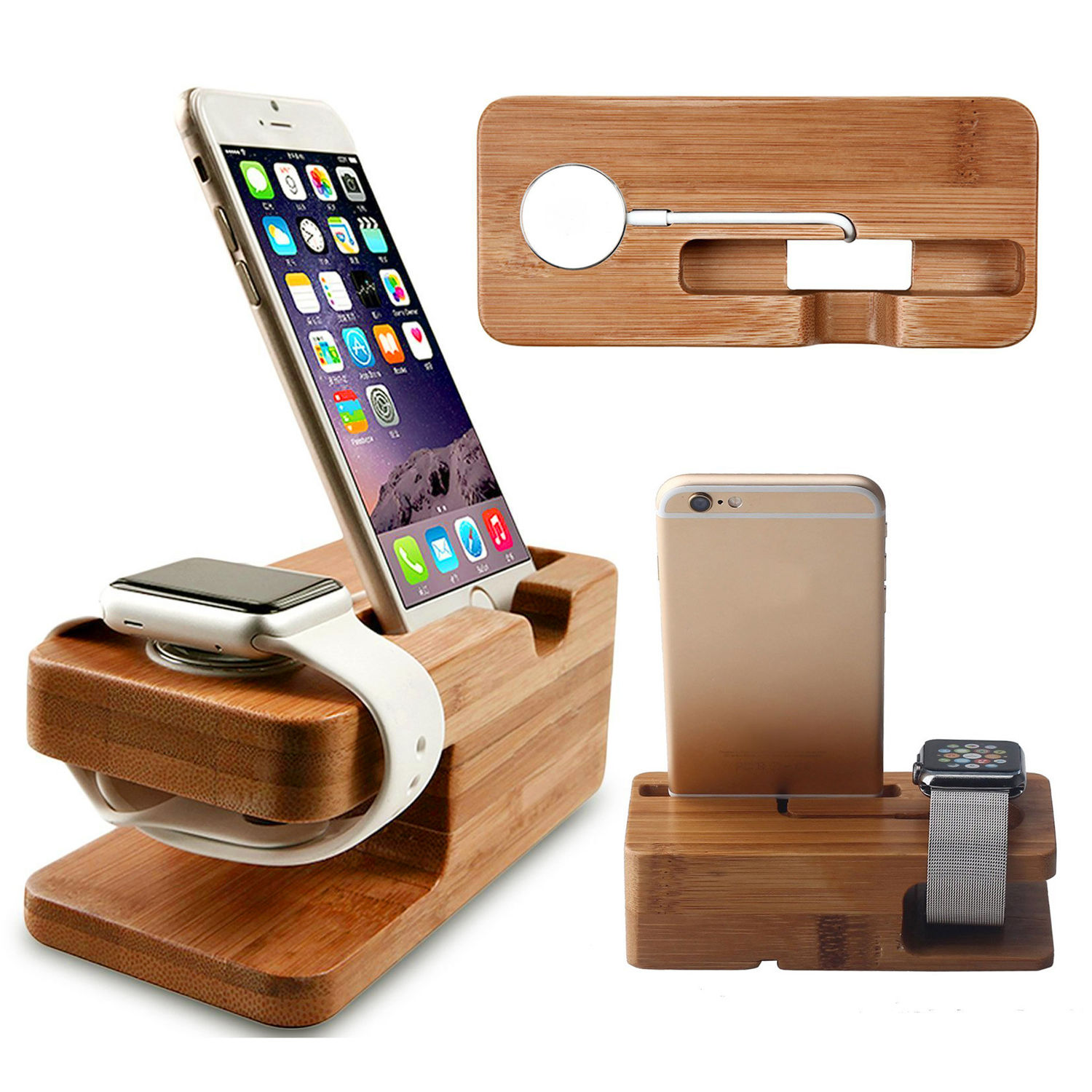 Wood Bamboo Charging Dock Station Charger Stand Holder For Apple Watch 38mm 42mm iPhone 7 7