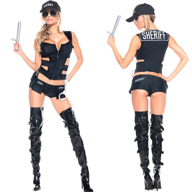 2016 New Women sexy police Cosplay costumes wholesale cop Halloween Costume  Uniform Sexy Swat Officer Female Costume 6b164ab5d8648