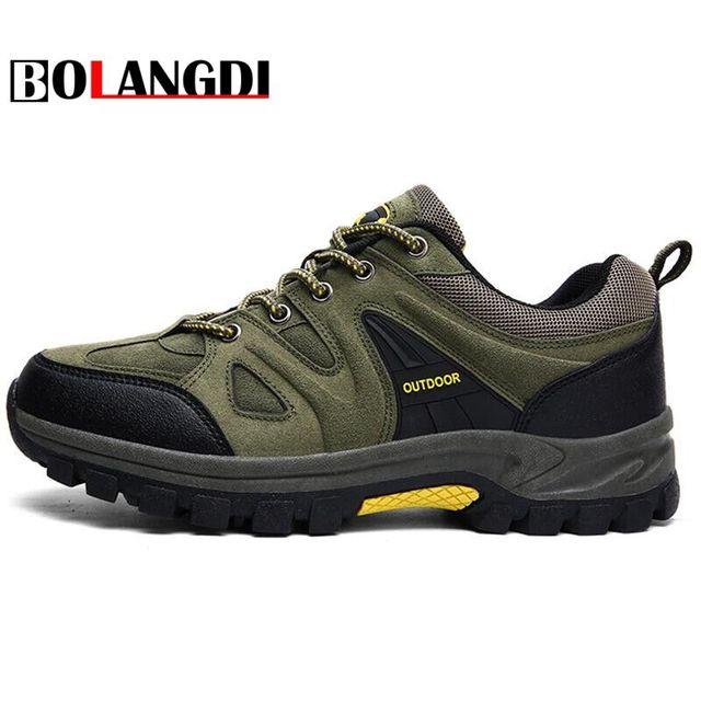 Bolangdi New Men Hiking Shoes Nubuck Climbing Shoe Waterproof Outdoor Climbing Trekking Sport Shoes Mountain Sneakers Size 39-47