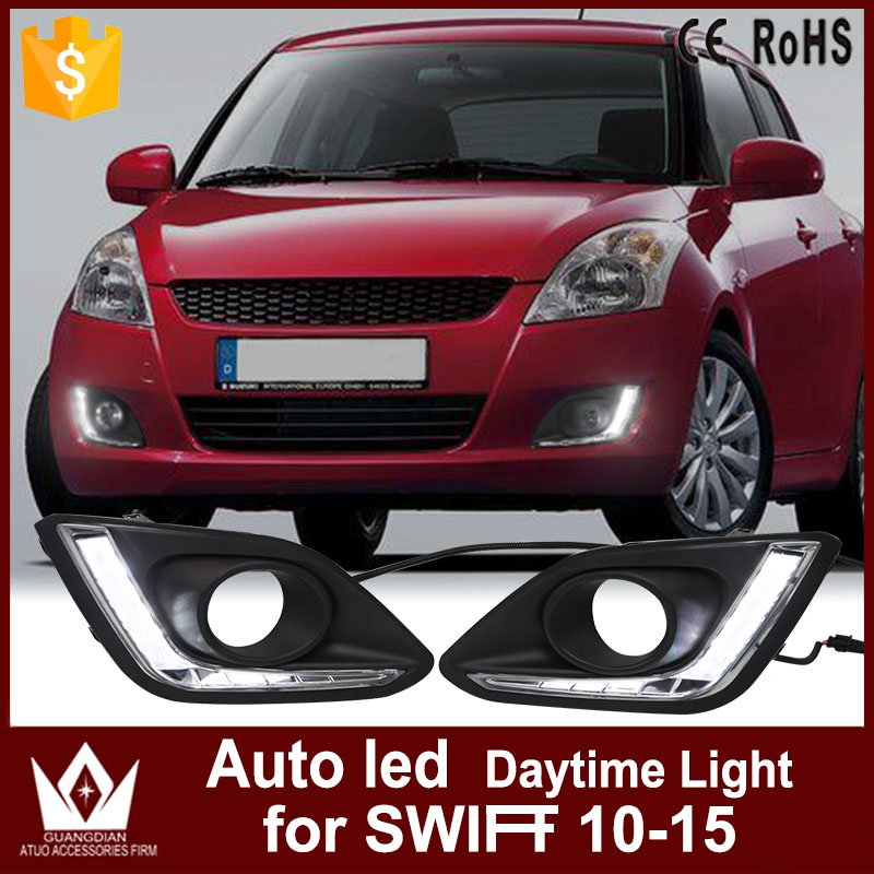 Tcart 1Set Car Styling Accessories Only White LED Daytime running lights Auto Dead By Daylight For Suzuki Swift 2014 2015 2016 boomboost 1 set daylight daytime running lights car styling for k ia k 2 r io 2014 2015