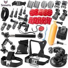 SnowHu Gopro accessories set go pro kit mount SJ4000 hero 5 4 3+ SJCAM M10 SJ5000 EKEN H9R camera case xiaoyi chest tripod GS54 автомобильный набор sjcam car charge set для sj5000 sj4000 m10 черный