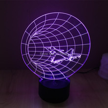 Free Shipping 1 piece 7 Color Changing USB F15/F16 airplane model 3D Acrylic LED night light luminous 3D led table lamp