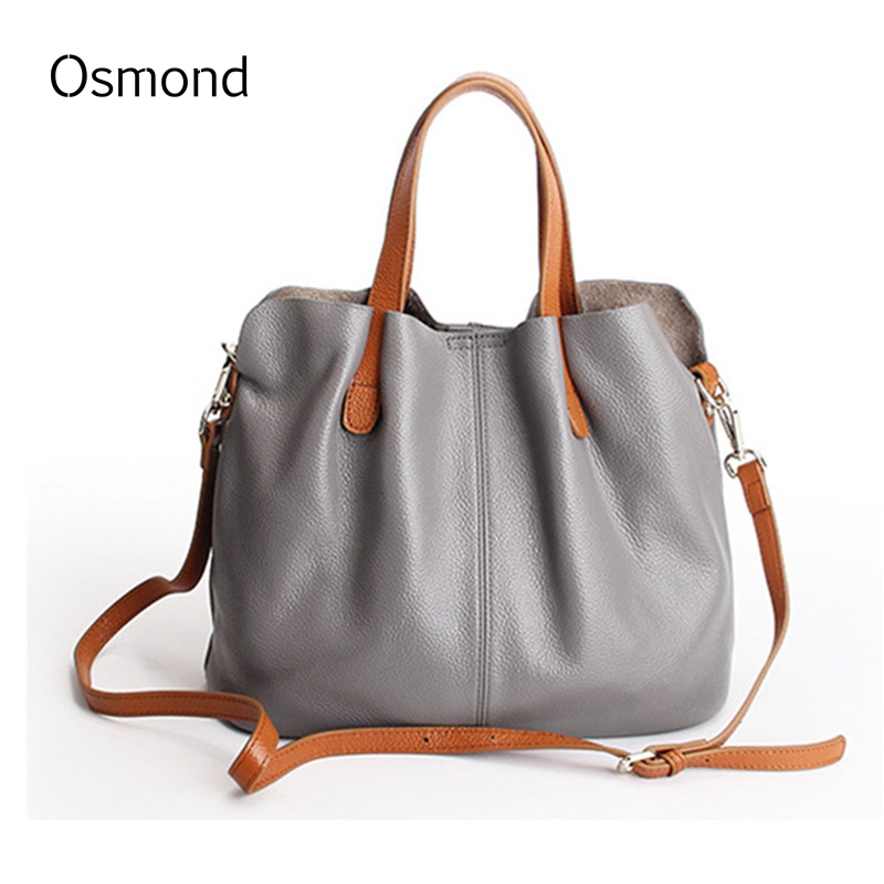Osmond Bag Set Women Real Soft Genuine Leather Handbag Tote Shoulder Bags Ladies Messenger Bag Crossbody Satchel Casual Solid kai yunon women girl shoulder bag faux leather satchel crossbody tote handbag aug 24