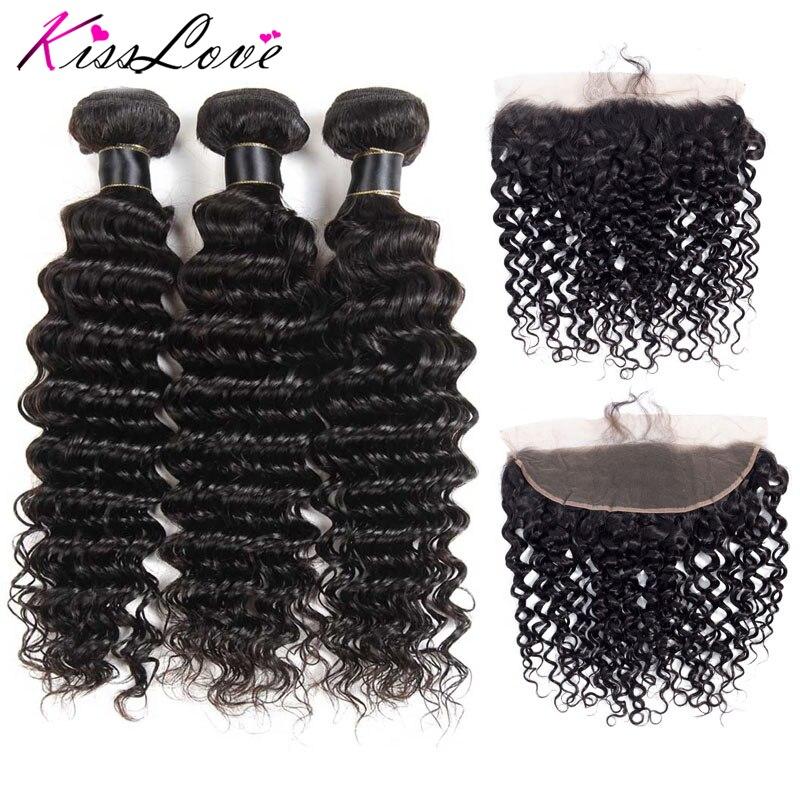 Kiss Love Brazilian Hair Deep Wave Bundles With Frontal 100% Human Hair Weave Frontal With Bundles Remy Hair