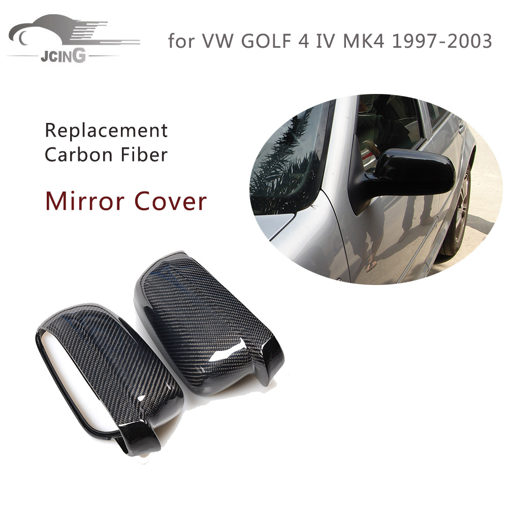 Pair of Replacement Carbon Fiber Side Mirror Covers for VW GOLF 4 IV MK4 1997-2003 Rear View Mirror Caps Car Accessories high quality golf 6 mk6 carbon fiber full replacement car review mirror cover caps for vw golf6 mk6
