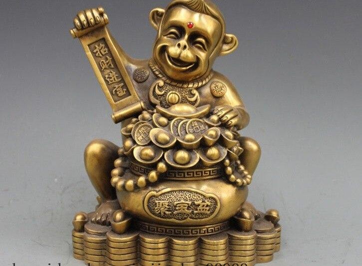 12 China Bronze Copper Fengshui Treasure Bowl Monkey Lucky Wealth Statue12 China Bronze Copper Fengshui Treasure Bowl Monkey Lucky Wealth Statue