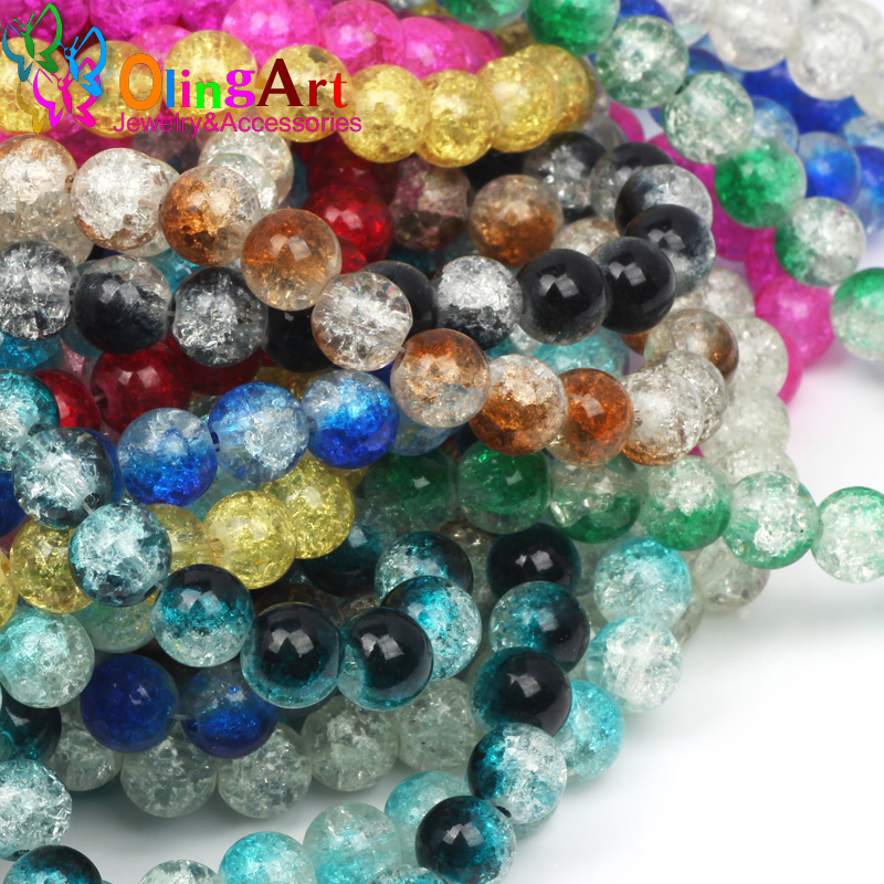 OlingArt  10MM 30PCS/LOT Glass Bead Round Crack Beads mix Crystal spacers DIY earring Bracelet choker necklace jewelry making