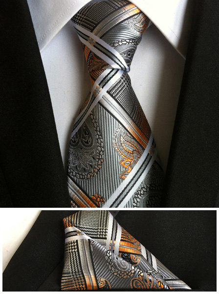 8cm Luxury Design Formal Ties Mens Classic Fashion Plaids Necktie with Paisley Pocket Square for Wedding