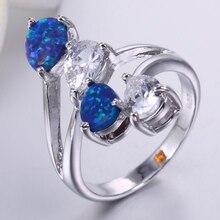 ZHE FAN Brown White Pink Blue Fire Opal Stone Women Rings Big Luxury AAA Cubic Zircon Party Valentines Day Gift Brand Jewelry