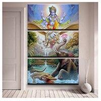 3 Pcs Hindu Lord God Vishnu Seated On Garuda dimaond Painting,diy 5d diamond embroidery crafts.diamond mosaic home decor JS1473