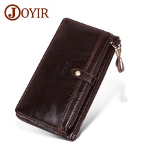 JOYIR New Business Men Long Wallets Coin Pocket Clutch Purse Casual Zipper Phone bag Portfolio Designer Multi-card Bit Wallets недорого