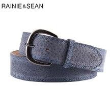 RAINIE SEAN Candy Color Belt Women Genuine Pigskin Leather Pin Buckle Navy Blue Vintage High Quality Ladies Jean Belts