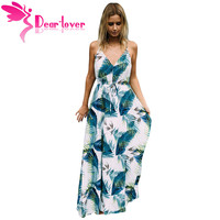 Dear Lover Long Dresses Boho Sexy Ladies Turquoise Tropical Leaf Print Sexy V Neck Maxi Beach