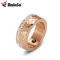 RainSo 2017 Fashion 8 0 Mm Wide Hematite Magnetic Finger Band Rings For Women US Size