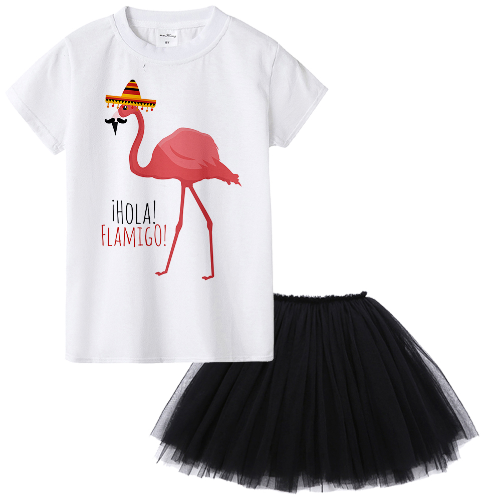 1Yto12Y Flamingo Kids Girl Clothing Set Summer Todder Clothes Children Girl Skirt T Shirt 2pcs Suit Flamingo Outfit Set Baby