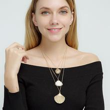 Punk Multi layer Women Natural Shell Pendant Necklace Gold Color Charm Chokers Jewelry collier femme coquillage Gift Boho