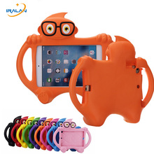 2017 Best selling kids Safe silicona case for ipad mini 1 2 3 4 general cartoon cute glasses childen stand cover shell+stylus(China)