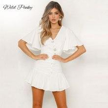 WildPinky New Bohemian White Dresses Women Shell Button V-neck Summer Sexy Dress Ruffles Short Sleeve Party Mini Vestidos