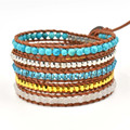 Natural mixed beads turquoise stone with silver golden beads Wrap Bracelet handmade Leather chain Bracelet Jewelry-Free Shipping