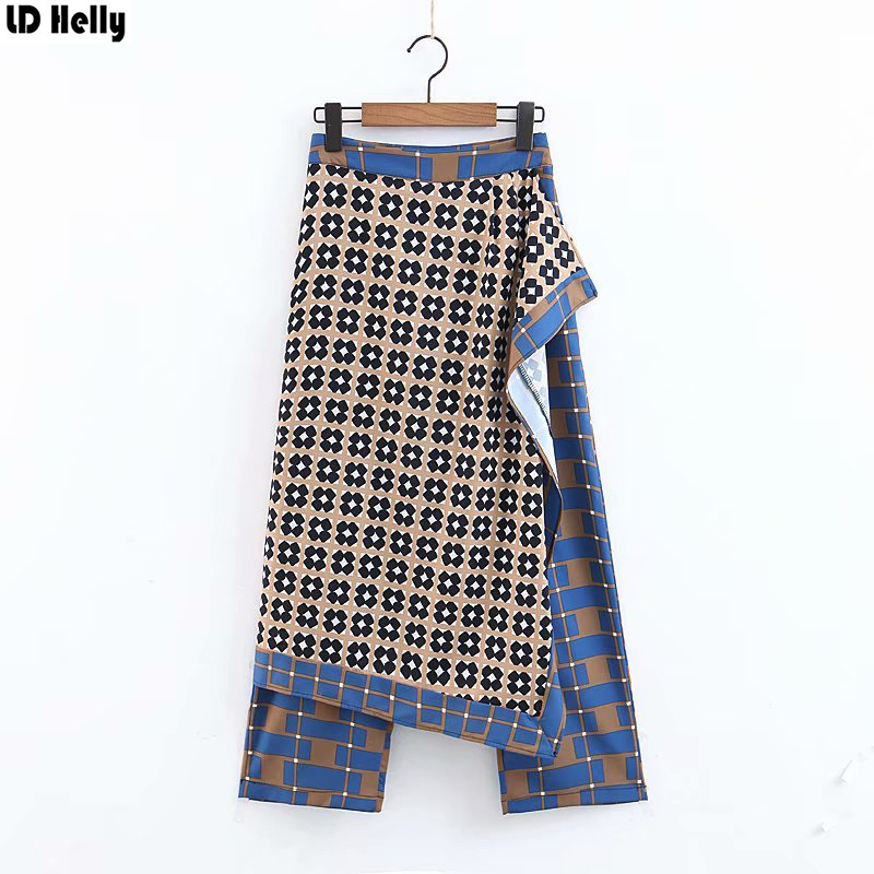 LD Helly Spring 2019 New Women Plaid Culottes Pants Fashion Female Irregular Design Pants Skirts New Loose Cozy Trousers