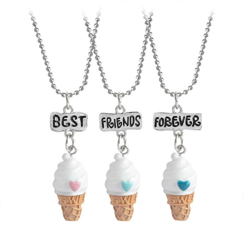 2018 3 pieces / set of best friends forever BFF ice cream pendant necklace Children sisters heart chain friendship jewelry gift