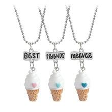 2020 3 unids/set de mejores amigos siempre BFF helado colgante collar niños hermanas corazón cadena regalo joyería de amistad