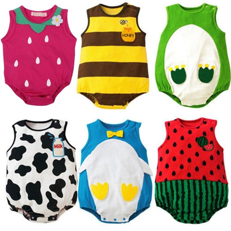 2017 Cute 6 Pattern 0-12M Baby Cartoon Suit Infant Toddler Cotton Jumpsuit One-Piece